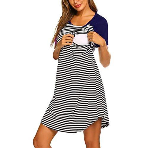 RAINED-Maternity Short Sleeve Stripe Nursing Dress Nursing Nightgown Double Layered Sleep Dress for Breastfeeding S-XXL ()