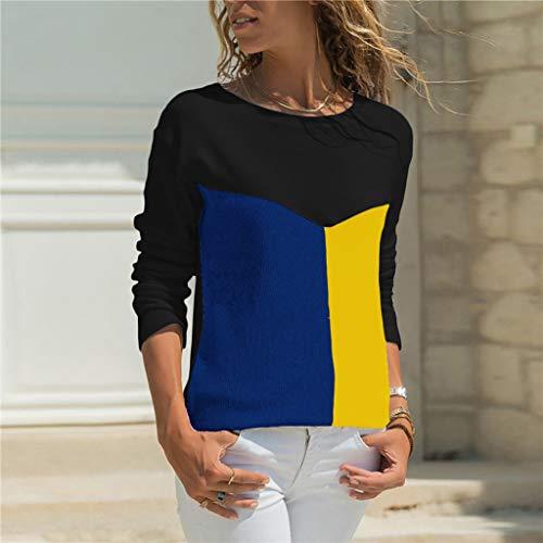 lunga a Elegant Casual Top da shirt a contrasto scollo T donna rotondo Printing Summer camicie belasdla donna manica Mang Black con A G q5aWzWwntT