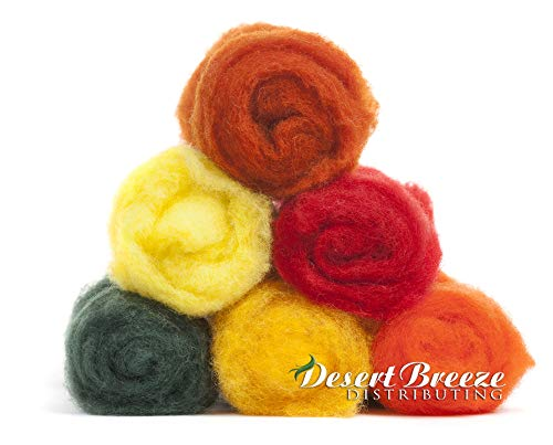 Blend Zealand New Wool - La Sal Collection, 6 Colors, 1 Ounce Each of Maori Wool - A Special Blend of New Zealand Wools by DHG for Needle Felting and Wet Felting, Carded Wool Batts, 100% Pure Wool