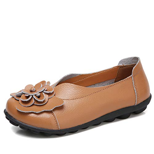 ANYUETE Women's Slip on Loafers Leather Flats Comfortable Walking Shoes Brown Size 9.5