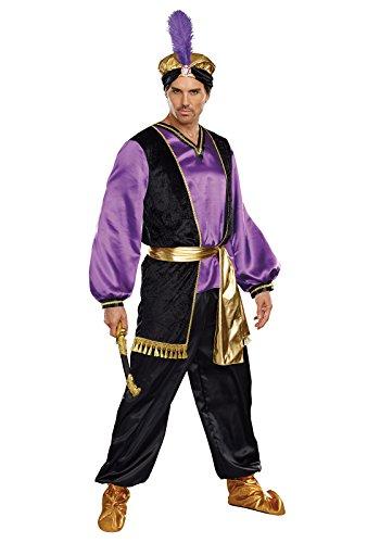Dreamgirl Men's The Sultan Costume, Purple/Black/Gold, (Sultan Costumes For Adults)