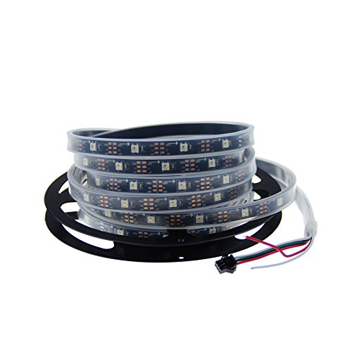 ALITOVE 16.4ft SK6812 (Similar to WS2812B) Individually Addressable RGB White RGBW LED Flexible Strip Light 5m 150 Pixels Red Green Blue White 4 chips in 1 5050 LED DC5V Waterproof IP67 Black PCB