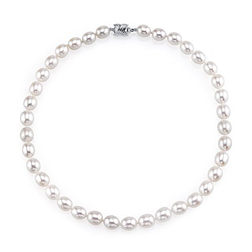 (THE PEARL SOURCE 10-11mm AAA Quality Oval White Freshwater Cultured Pearl Necklace for Women in 16