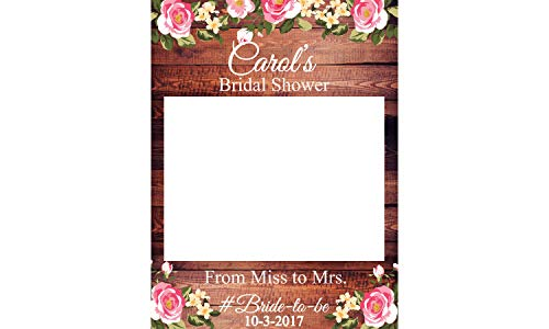 Flower Bridal Shower PhotoBooth Props- Sizes 36x24, 48x36; Personalized Rustic Decor Bridal Shower Decorations, Wedding photo booth props, Wooden, Floral, Handmade Party Supplies, selfie frame -