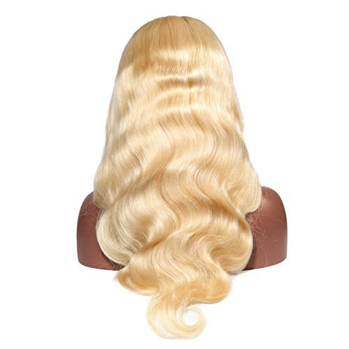 (Blonde Body Wave 360 Lace Frontal Wig Pre Plucked Nature Color Human Hair Lace Front Wigs,#613,12inches,250%)