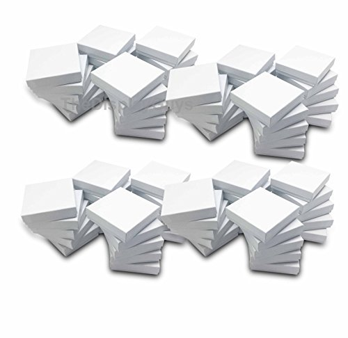 The Display Guys~ Pack of 100 Cotton Filled Cardboard Paper White Jewelry Box Gift Case -White swirl (3 1/2x3 1/2x1 inches #33)
