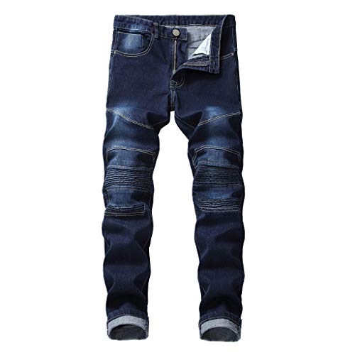 (LIKESIDE Fashion Men's Printed Denim Cotton Vintage Wash Hip Hop Work Trousers Jeans)