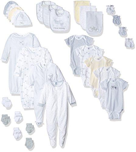 Gerber Baby Girls 30 Piece Essentials Gift Set, LIL' Lamb, 0-3M: Onesies/Sleep 'n Play/Sock/Mitten, 0-6M: Gown/Cap, 0-6 Months One Size: (Lamb Zipper)