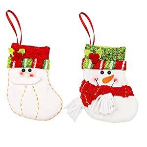 2Pcs Set Christmas Hanging Stockings Santa Claus And Snowman Gift Candy Bags Christmas Tree Decoartions Ornaments