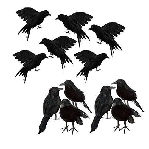 B Blesiya 12pcs/Set Artificial Ravens Realistic Birds Black Crows for Halloween Party Garden Tree Yard Decoration]()