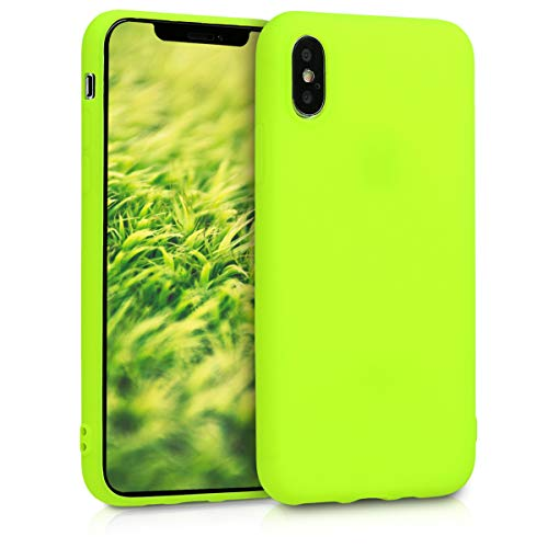 kwmobile TPU Silicone Case for Apple iPhone Xs - Soft Flexible Shock Absorbent Protective Phone Cover - Neon Yellow