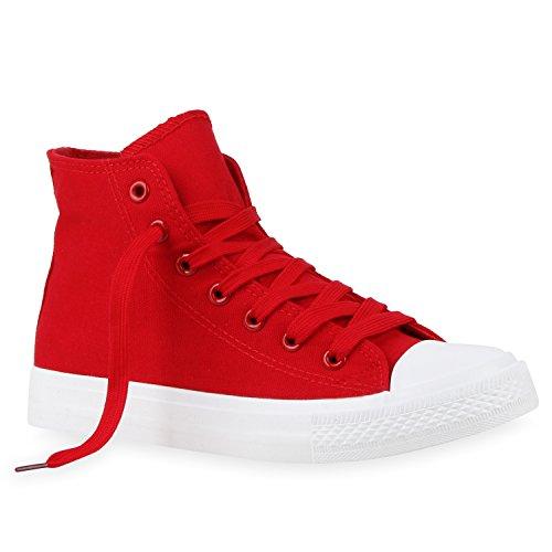 Flandell Unisex Herren Weiss Stiefelparadies Rot Sneaker Übergrößen Damen high 1vqnAYP