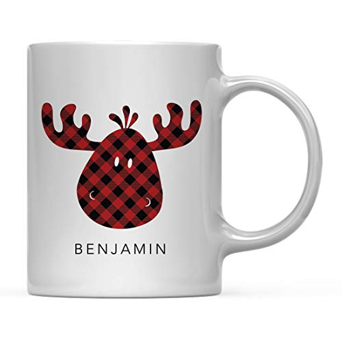 (Andaz Press Personalized Hot Chocolate Coffee Mug Gift, Buffalo Lumberjack Red Plaid Moose, 1-Pack, Custom, Includes Gift Bag, Christmas Holiday Present Ideas)