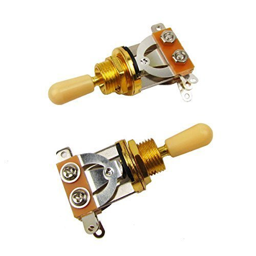 Musiclily Metric 3 Way Short Straight Guitar Toggle Switch Pickup Selector for Gibson Epiphone Les Paul Electric Guitar,Gold Top with Cream Tip( Pack of 2)