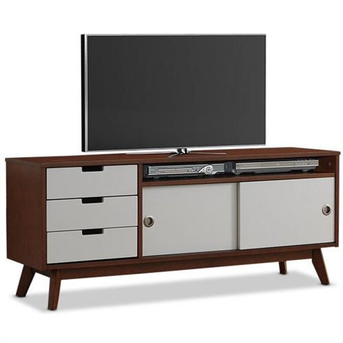 (Svitlife Modern Classic Mid-Century Style TV Stand Entertainment Center in Walnut and White Entertainment Center Tv Stand And Shelves Modern Media Console)