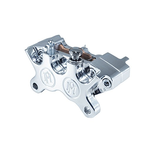 Performance Machine 4-Piston Brake Caliper WITH PADS - POLISHED Billet Aluminum - MADE IN THE USA - Harley Chopper Bobber Cafe Racer