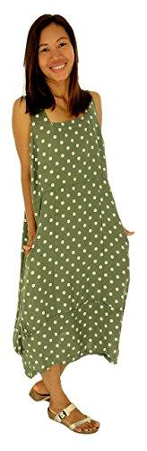 Mein Design Lagenlook de Mallorca Damen Kleid HE700 Tunika Leinen Oliv ykprw