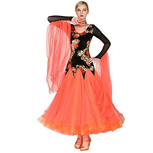 社交ダンス衣装 レディース 大きい 社交ダンスドレス 発表会競技会試合ドレス ロングワンピース 素敵ドレス 4色展開 B07KVVBT32 Small オレンジ オレンジ Small