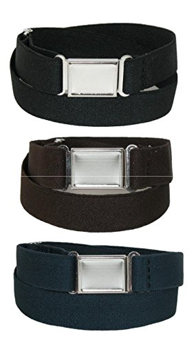 CTM Kids Elastic Stretch Belt with Magnetic Buckle (Pack of 3 Colors)