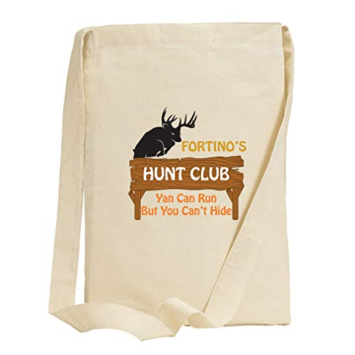 (Personalized Custom Text Hunt Club Wood Sign Cotton Canvas Sling Tote Bag)