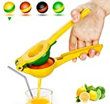Yimobra Manual Lemon Lime Squeezer, Metal Hand Citrus Juicer Press for Lemons, No Pulp or Seeds, Dishwasher Safe, Premium Quality Juicing Kitchen Tool, Presented A Manual Juicer Stand, Yellow