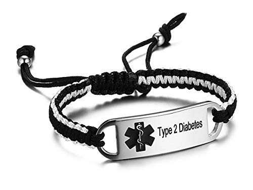 JF.JEWELRY Type 2 Diabetes Medical Alert ID Bracelet for Men Black & Gray Two-Tone Nylon Braided Bracelet 6-8 inches