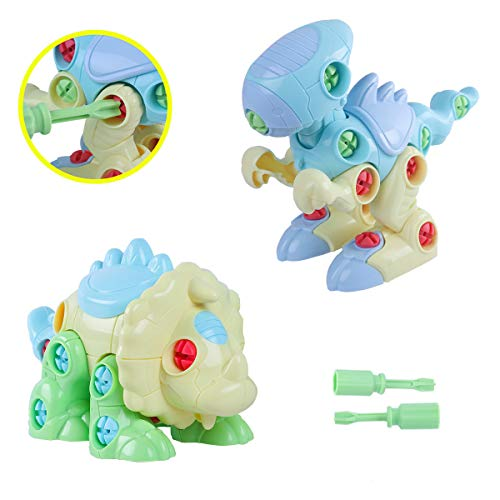 Yoohoom Dinosaur Take Apart Toys with Tools, Build and Play Dinosaur, STEM Preschool Learning Assembling Puzzle Dinosaur Figures Building Blocks for Boys Girls Toddlers Age 3+
