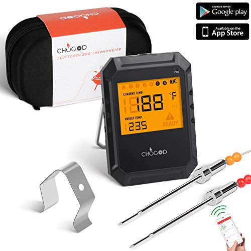 Bluetooth Meat Thermometer, For Grilling Wireless Remote Digital Cooking Thermometer With APP Smart Alarm Grill Thermometer for Kitchen Food Candy BBQ, Carrying Case (Comes with 2 - 5/1/1 Thermostat Digital Program