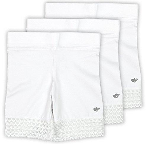 - Lucky & Me Jada Little Girls Bike Shorts, Tagless, Soft Cotton, Lace Trim, Underwear, 3 Pack, White, 7/8