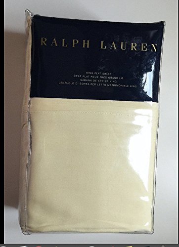 - Ralph Lauren King Size Flat Sheet Cotton Solid Yellow -- RL Luxury Oxford