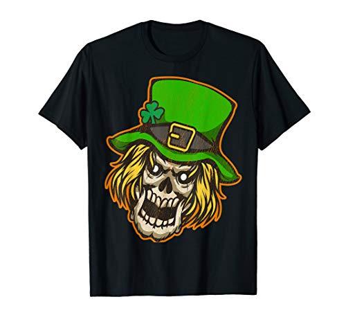 SCARY LEPRECHAUN SKULL HEAD drawing tee shirt]()