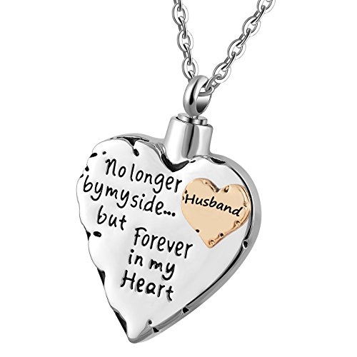 memorial necklace for mom,dad,pet,no longer by my side forever in my heart cremation pendant jewelry (husband)