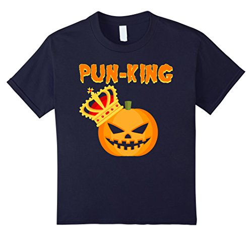 Kids Pun-King Pumpkin Halloween Tee - Funny Jack O' Lantern Shirt 12 Navy