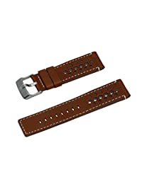 SWISS REIMAGINED Cognac Italian Rally Style Leather Watch Band - Brushed Stainless Steel Buckle 20mm
