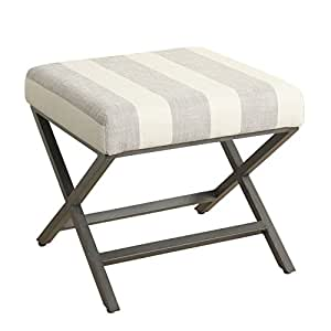 Kinfine Modern Square Metal X-base Ottoman, Tan and Cream Awning Stripe