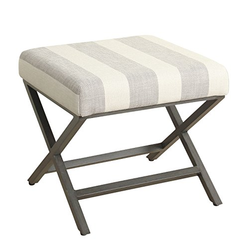 HomePop Modern Square Metal X-base Ottoman, Tan and Cream Awning ()