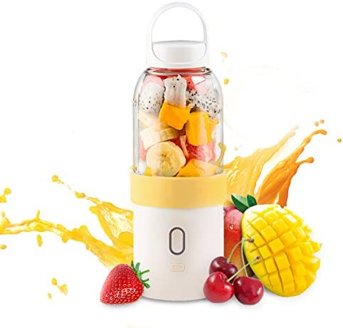 Juicer Cup,Mini Fruits Vegetables Juice Mixer,Portable Handheld Shake Blender with Power Capacity 4400mAh USB Rechargeable,Upgraded Motor Blade and 15OZ Capacity,for Office Home Camping Yellow