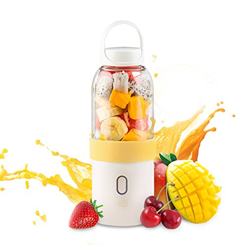 Juicer Cup,Mini Fruits Vegetables Juice Mixer,Portable Handheld Shake Blender with Power Capacity 4400mAh USB Rechargeable,Upgraded Motor & Blade and 15OZ Capacity,for Office/Home/Camping (Yellow)
