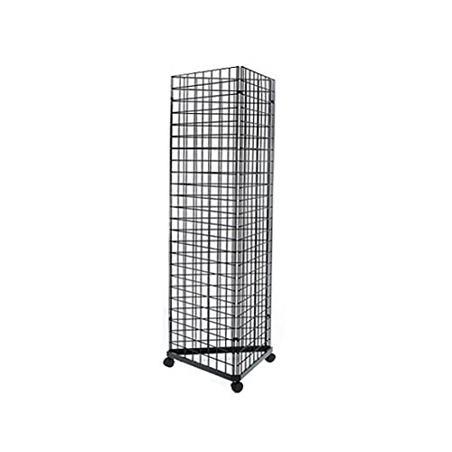 2' x 6' Foor Wire Grid Panel 3-Sided Tower Floorstanding Display Kit with Rolling Base. Color: Black