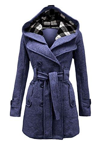 FEMMES polaire cexi COUTURE hiver double jean manteau capuche veste boutonnage ceinture femmes avec bleu xBqwa1AnqR