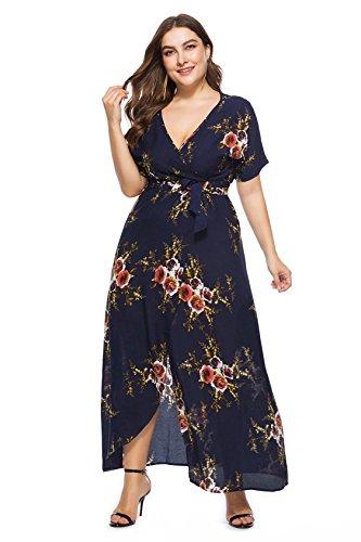 d584fd32eb Selenaly Womens Plus Size Dresses Short Sleeve Loose Plain Long Maxi Summer  Dress