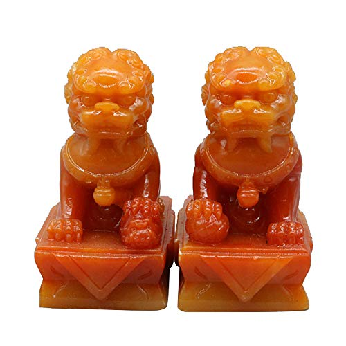 (A Pair of Beijing Lions Pair Fu Foo Dogs Statues Guardian, Made of Shoushan Stone,Chinese Feng Shui Decor,for Home and Office, Attract Wealth and Good Luck,Best Gift)