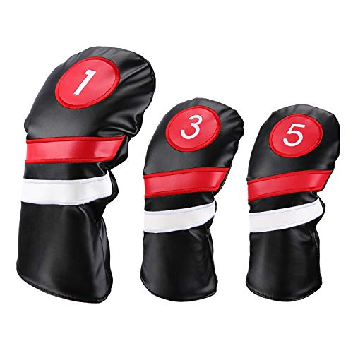 LONGCHAO Golf Head Covers 3pcs/Set Driver Fairway Wood Headcovers White Red and White Vintage PU Leather 1 3 5 Driver and Fairway Head Covers for Golf Club(Black)