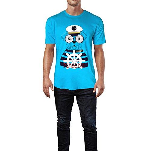 SINUS ART® Seemanns Bulldogge mit Brille Herren T-Shirts in Karibik blau Cooles Fun Shirt mit tollen Aufdruck