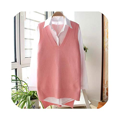 Beautiful-clouds Sweater Vest Women Spring Autumn Sleeveless Pullover V Neck Knitted Wool Vest