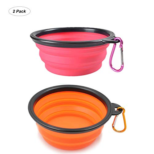 YISSCEN Collapsible Dog Bowl, Portable Travel Silicone Pet Food Water Bowl, Food Grade Silicone BPA Free (Pink&Orange) ()