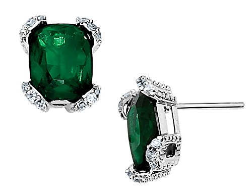 Cheryl M. Created Synthetic Emerald Earrings in Sterling - Synthetic Emerald Earring