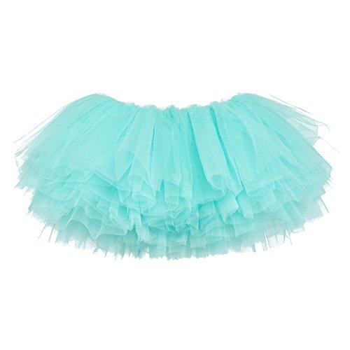 - My Lello Little Girls 10-Layer Short Ballet Tulle Tutu Skirt (4 mo. - 3T) -Aqua