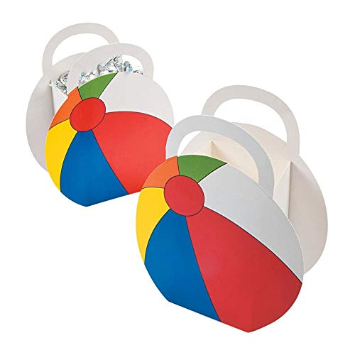 Fun Express Beach Ball Party Favor Treat Boxes - 12 pc,Red, Blue, Yellow, Green, White]()