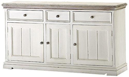 Robas Lund FW608T03 Opus Sideboard, Kiefer weiß / white sanded, 3 Türen / 3 Schubkästen, circa 165 x 90 x 47 cm
